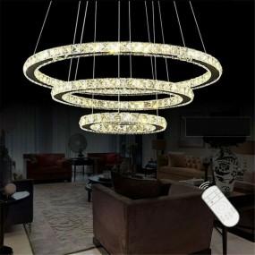 Żyrandol kryształowy lampa wisząca kryształowa LED pierścienie koła regulowana + PILOT