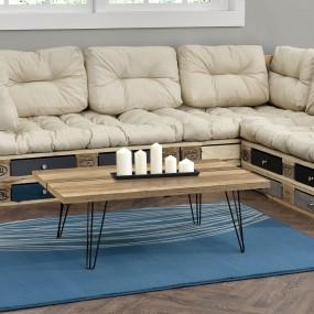Nowoczesny stolik kawowy ława pokojowa drewno metal stół 100 cm