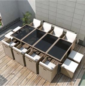 13 częściowy zestaw mebli ogrodowych z poduszkami rattan stół szklany blat 8 krzeseł 4 pufy z poduszkami