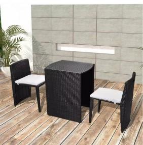 Stół + 2 krzesła do ogrodu zestaw mebli ogrodowych  rattan z poduszkami