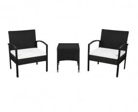 Stół + 2 krzesła do ogrodu z rattanu dwa kolory czarny brązowy z poduszkami zestaw mebli