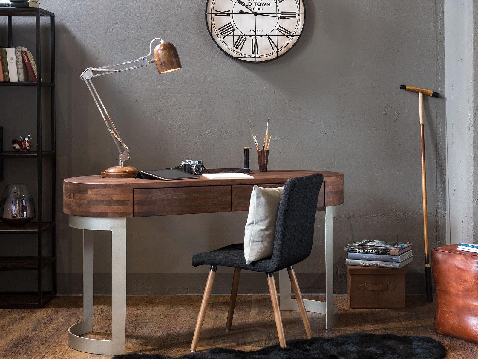 Eleganckie biurko drewniany duży blat z szufladami metalowe srebne nogi do  biura na recepcję