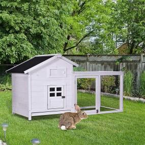 Klatka dla królików drewniany domek dla zwierząt kurnik biały
