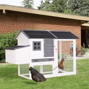 Kurnik klatka dla kur dla gryzoni drewniany domek dla królików biały