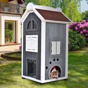 Duży drewniany domek dla kota dla zwierząt 109 cm