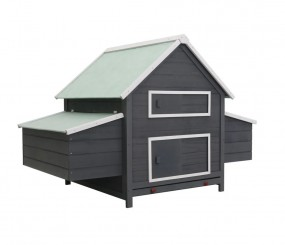 Duża klatka dla kur kurnik drewniany domek dla zwierząt szary