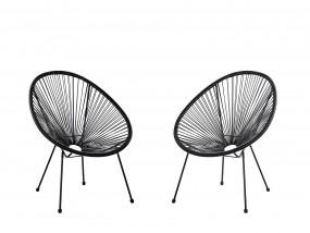 Komplet 2x krzesło owalne rattanowe czarne szare czarne żółte zielone
