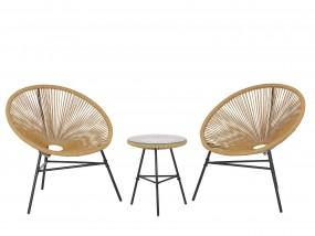 Komplet 2x krzesło + stolik rattan bistro biały brązowy zielony niebieski pomarańcz