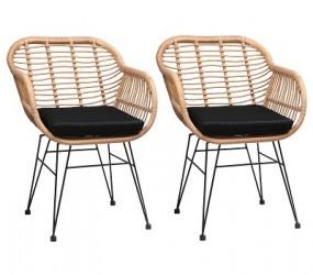 Komplet 2x krzesło wiklinowe ogrodowe polirattan zestaw