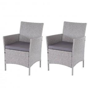 Komplet 2x krzesło wiklinowe ogrodowe fotel technorattan zestaw