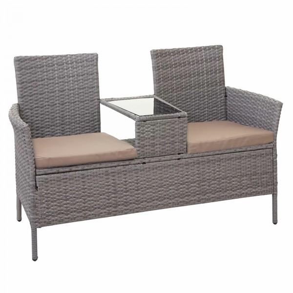 Ławka ogrodowa sofa rattan polirattan stolik szklany blat + poduszki