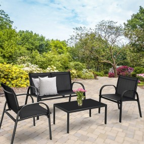 Komplet 4 częściowy krzesło stolik ławka zestaw czarny szary