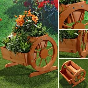 Kwietnik drewniany stojak na kwiaty regał donica doniczka brąz