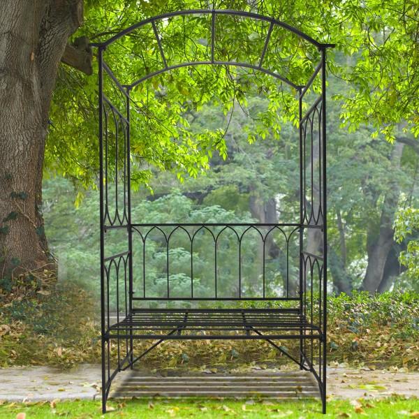 Żelazna pergola ozdobna ławka metalowa altanka ogród łuk różany