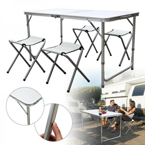 Zestaw mebli ogrodowych składanych stół biały krzesła kempingowe białe składane