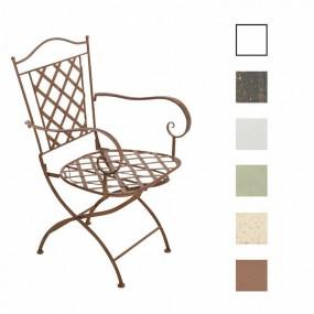 Metalowe krzesło ogrodowe bistro żelazne białe brązowe