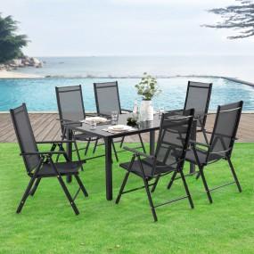 7 częściowy zestaw mebli ogrodowych stół 6 krzeseł