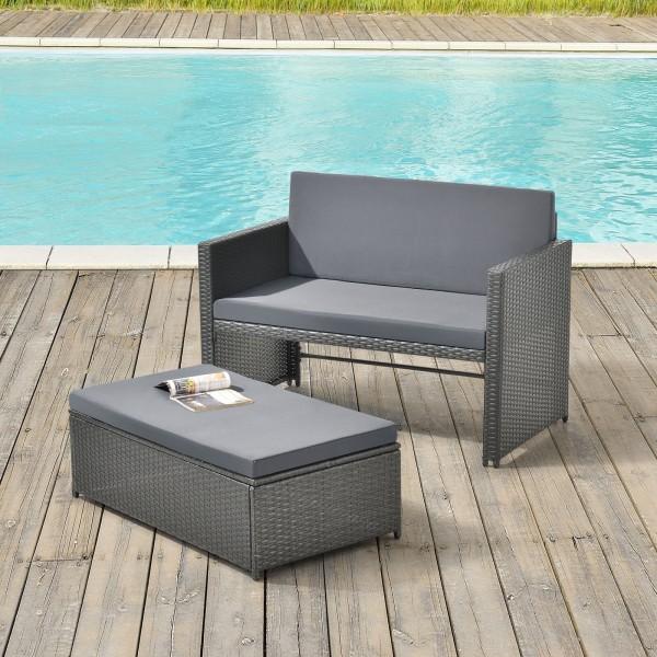 Zestaw mebli ogrodowych komplet ławka szara + poduszki