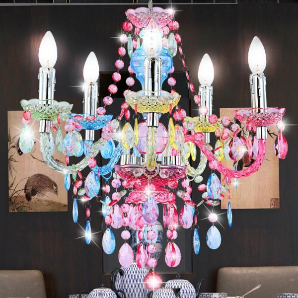 Kryształowy kolorowy żyrandol lampa wisząca LED