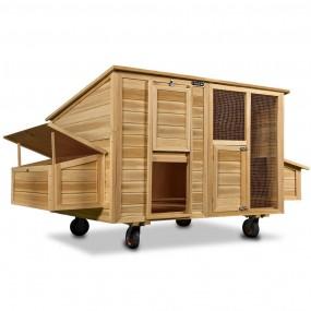 Drewniana klatka dla kur królików kurnik na kółkach domek