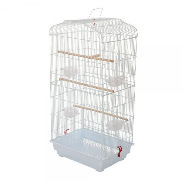 Woliera biała klatka dla ptaków metalowa z podajnikami