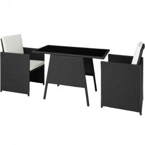 2 krzesła + stół do ogrodu zestaw mebli ogrodowych  rattan z poduszkami