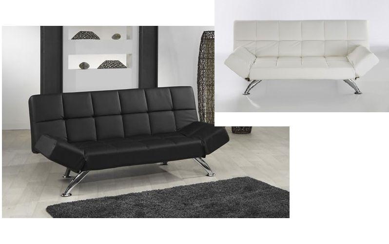 Nowość Sofa kanapa rozkładana skóra czarna biała model Plaza - sklep XQ71