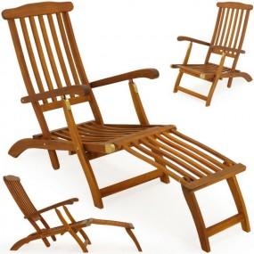 Leżak drewniany regulowana krzesło leżanka akacja