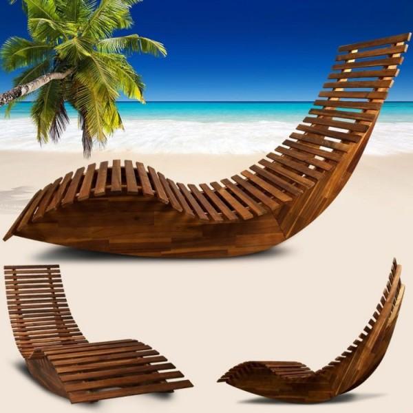 Leżak bujany z drewna akacjowego leżanka