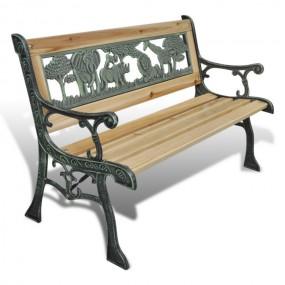 Ławka dekoracyjna ogrodowa drewniana metalowa