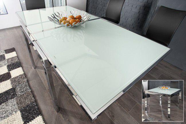 Bardzo dobryFantastyczny Stół szklany rozkładany 90-180 cm chrom szkło Modular NOWOŚĆ BR95