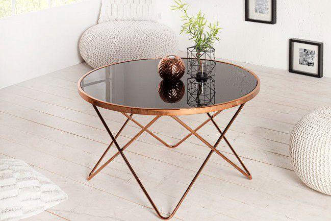Wspaniały Stylowy stolik kawowy miedź czarne szkło 85cm Pont - sklep PU76