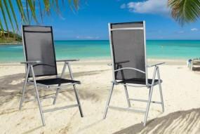 Krzesło ogrodowe czarno-srebrne odchylane oparcie Pacific