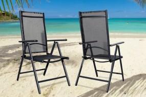 Krzesło ogrodowe czarne odchylane oparcie Pacific