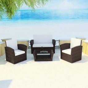 Meble ogrodowe rattanowe sofa fotele stół kolor brąz