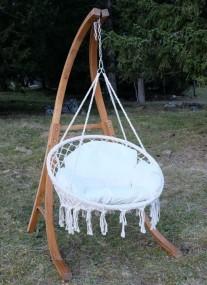 Krzesło wiszące fotel hamak + drewniany stelaż