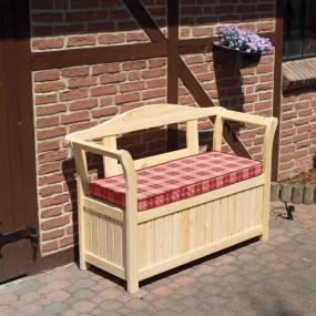 Ławka sosnowa ze skrzynią schowek + poduszka