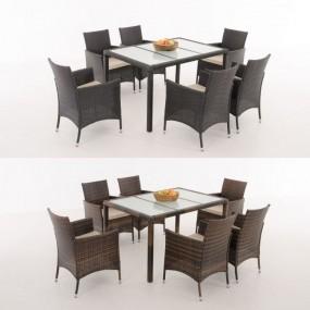 Meble ogrodowe rattanowe stół + 6 krzeseł