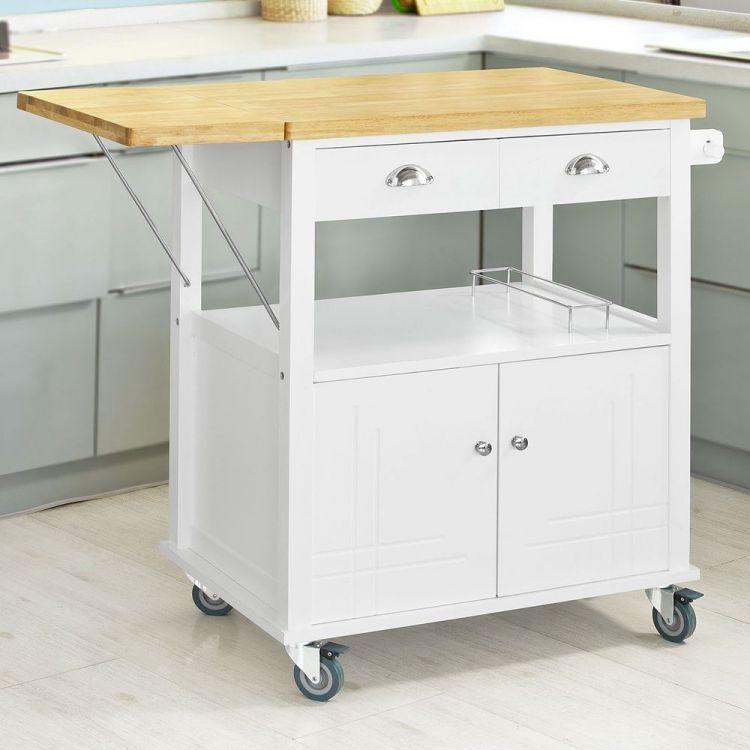 Wózek kuchenny stolik szafka na kółkach biała - sklep