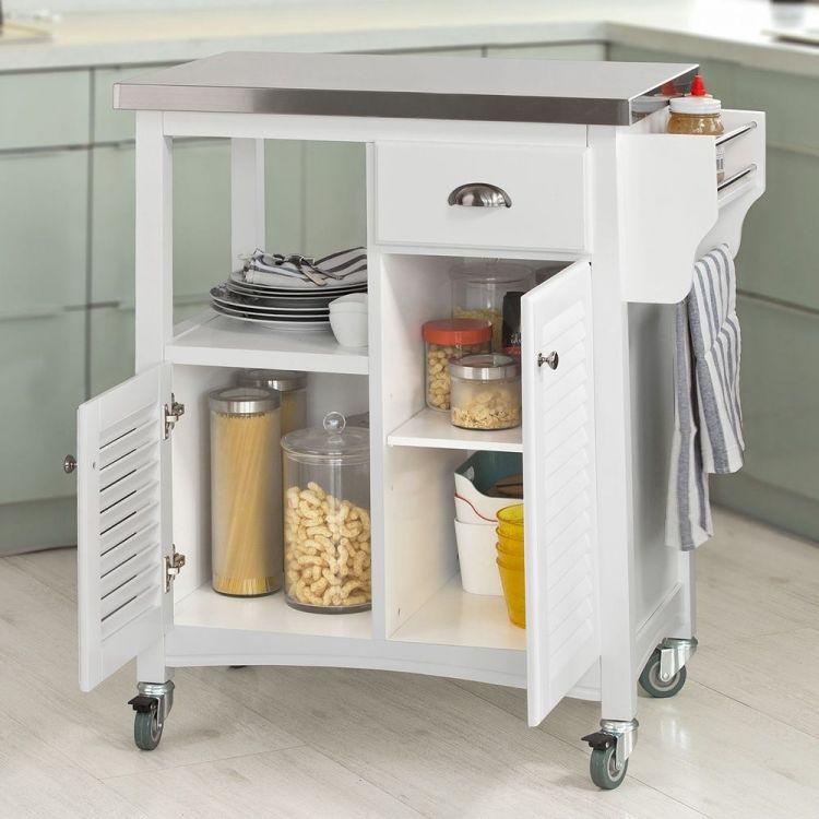 Wózek kuchenny stolik szafka na kółkach biała drewniana