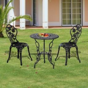Zestaw mebli ogrodowych balkonowych stół stolik + 2 krzesła meble ogrodowe metalowe