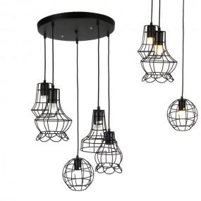 Lampa nowoczesna żyrandol ozdobny metalowy czarny