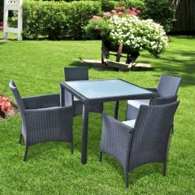 Meble ogrodowe rattanowe zestaw rattan 4 osobowy stolik fotele czarny