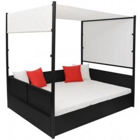 Leżak rattanowy czarny brązowy rattan łózko + stolik i  dach