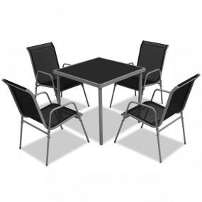 4-osobowy zestaw mebli ogrodowych 4 krzesła + stół meble ogrodowe metalowe