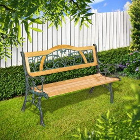 Ławka ogrodowa drewniana rama żeliwna ławeczka