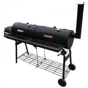 Olbrzymia wędzarnia grill węglowy na kółkach podwójny