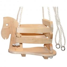Huśtawka drewniana dla dzieci  koń na biegunach