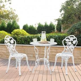 Żeliwny zestaw antyczny biały stół +2 krzesła